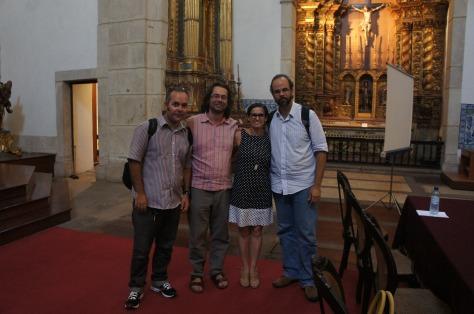 O professores palestrantes com o artista Flavio Marzadro