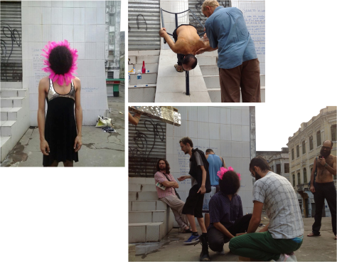 Performances by Ricardo Alvarenga (girassol ao pôr-do-sol), Gerônimo e Eduardo Silva (installation of bodies), in the context of Post-Factum Ladeira da Montanha, 2013
